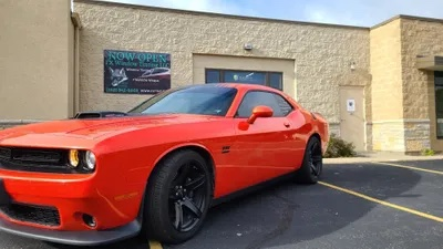 Red Car with Window Tints